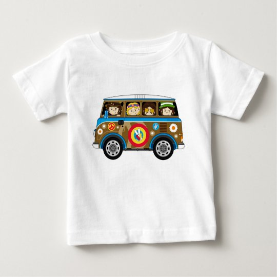 Cartoon Sixties Peace Hippie Van Baby T-Shirt