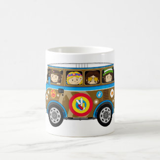 Cartoon Sixties Peace Hippie Van Mugs