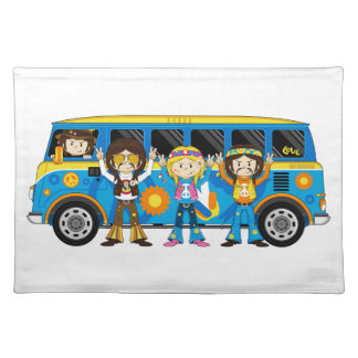 Cartoon Sixties Peace Hippie Van Placemat