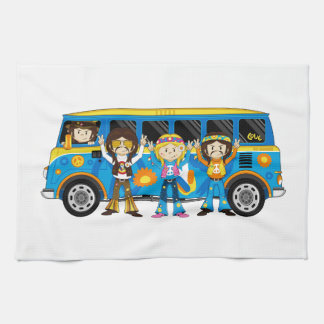 Cartoon Sixties Peace Hippie Van Tea Towel