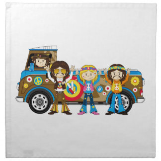 Cartoon Sixties Peace Hippies Napkin