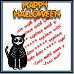 Cartoon Skeleton Cat, Bat & Ghost Photo Frame Standing Photo Sculpture