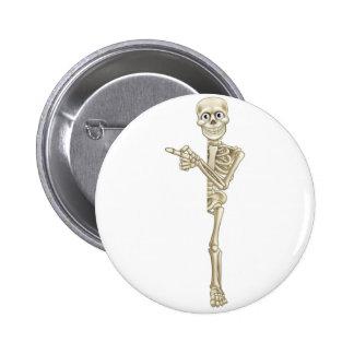 Cartoon Skeleton Pointing 6 Cm Round Badge