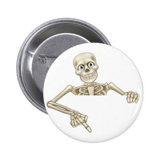 Cartoon Skeleton Pointing at Sign 6 Cm Round Badge