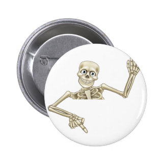 Cartoon Skeleton Pointing Down 6 Cm Round Badge