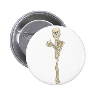 Cartoon Skeleton Thumbs Up Halloween Sign 6 Cm Round Badge