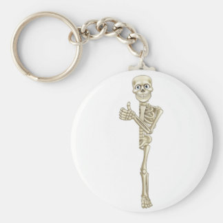 Cartoon Skeleton Thumbs Up Halloween Sign Basic Round Button Key Ring