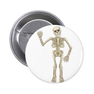 Cartoon Skeleton Waving 6 Cm Round Badge