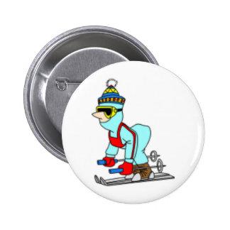 Cartoon Skier 6 Cm Round Badge