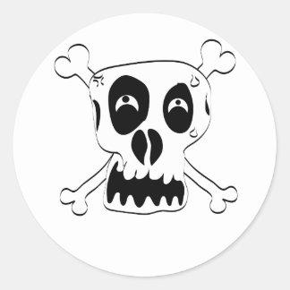 Cartoon Skull and Cross Bones by Chillee Wilson Round Sticker