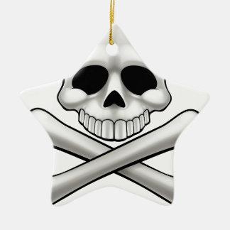 Cartoon Skull and Crossbones Jolly Roger Ceramic Star Decoration