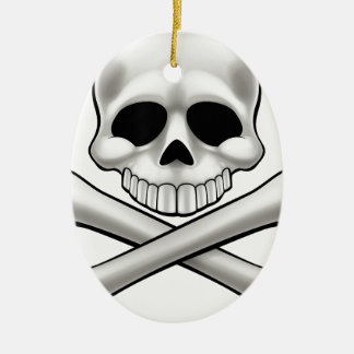 Cartoon Skull and Crossbones Jolly Roger Christmas Ornament