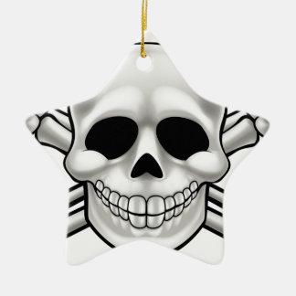 Cartoon Skull and Thumbs Up Crossbones Ceramic Star Decoration