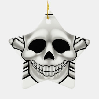 Cartoon Skull and Thumbs Up Crossbones Christmas Ornament
