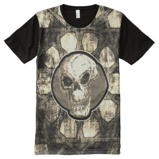 cartoon skull and traditional turkish tile design All-Over print T-Shirt