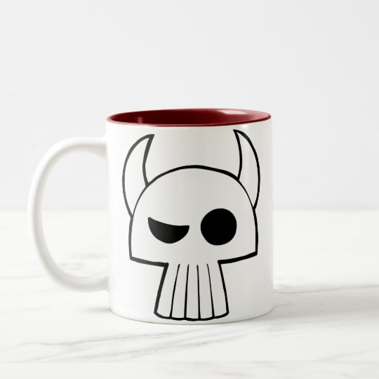 Cartoon Skull Design with Horns drinking mug