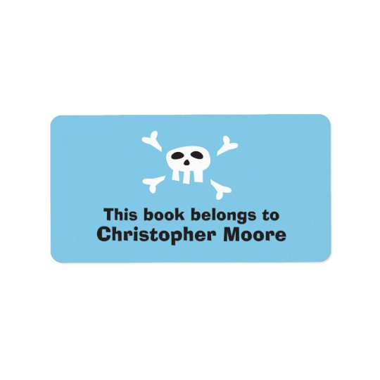 Cartoon skull pirate blue bookplate book plates address label