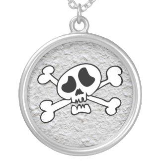 Cartoon skull round pendant necklace