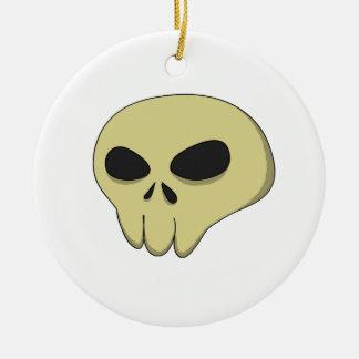 Cartoon skull sepia round ceramic decoration