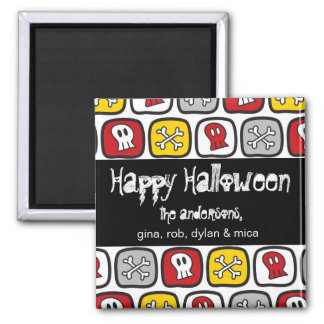 Cartoon Skulls & Bones Halloween Greeting Magnet