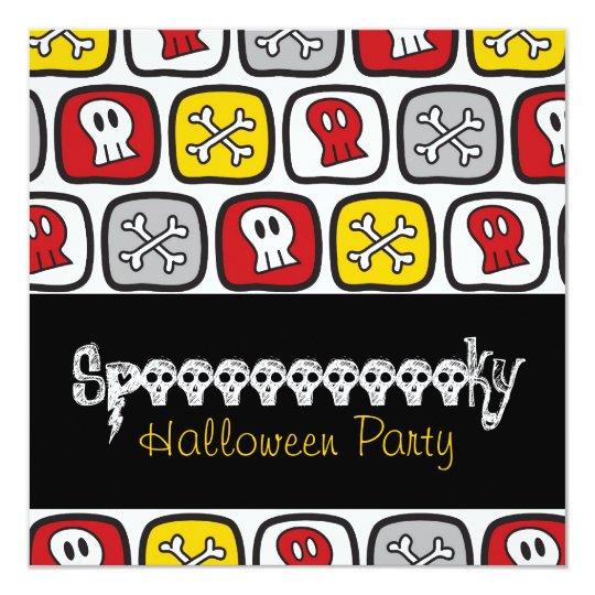 Cartoon Skulls & Bones Halloween Party Invitation