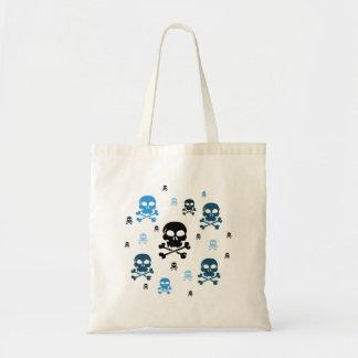 Cartoon Skulls Collage - Blue Budget Tote Bag