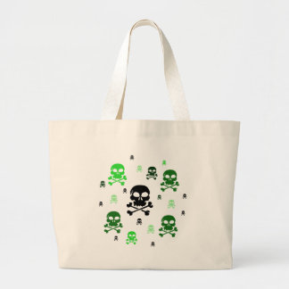 Cartoon Skulls Collage - Green Canvas Bags