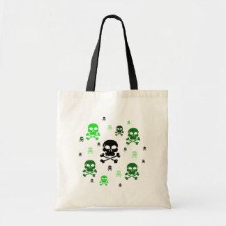 Cartoon Skulls Collage - Green Tote Bag