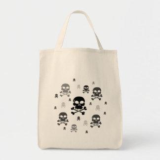 Cartoon Skulls Collage - Greyscale Canvas Bag