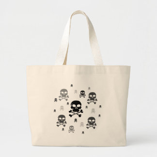 Cartoon Skulls Collage - Greyscale Jumbo Tote Bag