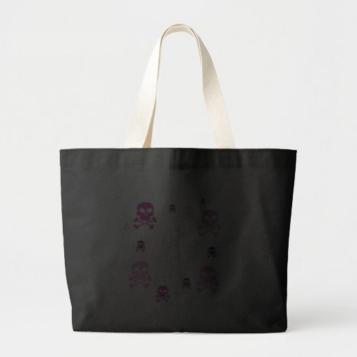 Cartoon Skulls Collage - Pink Canvas Bags