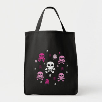 Cartoon Skulls Collage - Pink Grocery Tote Bag