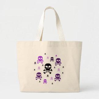 Cartoon Skulls Collage - Purple Tote Bags