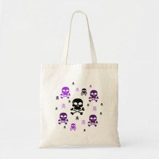 Cartoon Skulls Collage - Purple Budget Tote Bag