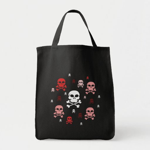 Cartoon Skulls Collage - Red Tote Bags