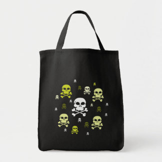 Cartoon Skulls Collage - Yellow Grocery Tote Bag