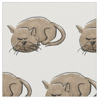 Cartoon sleeping cat fabric