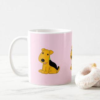Cartoon Smiley Airedale Puppy Dog Mug
