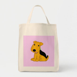 Cartoon Smiley Puppy Airedale Terrier Dog Tote!