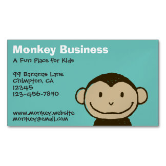 Cartoon Smiling Monkey Face Magnetic Business Cards