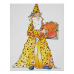 Cartoon, smiling wizard with long white beard, poster