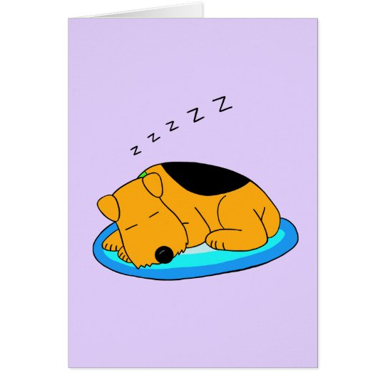 Cartoon Snoring Airedale Terrier Dog Greeting Card