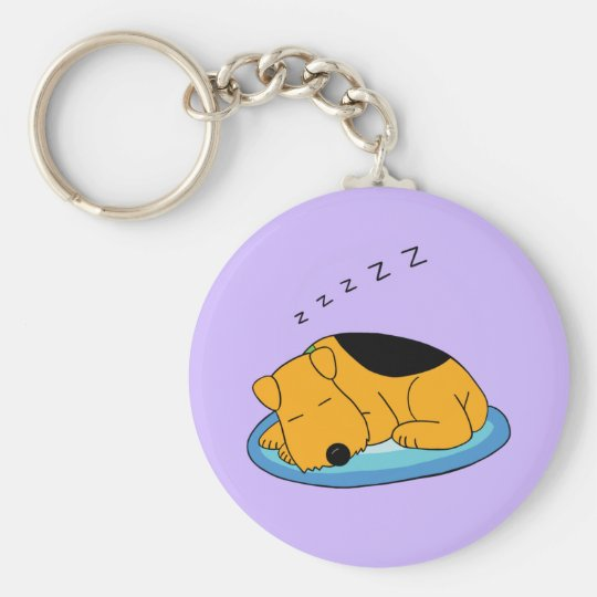 Cartoon Snoring Airedale Terrier Dog Keychain