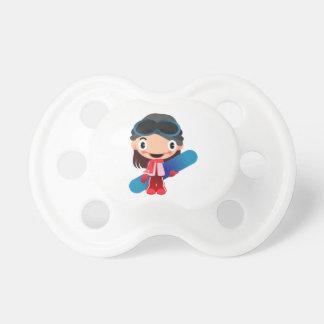 Cartoon Snowboarder Girl Pacifiers