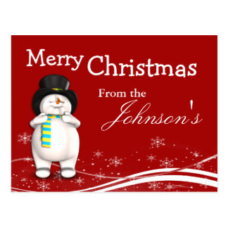 Cartoon Snowman Christmas Greeting Postcard