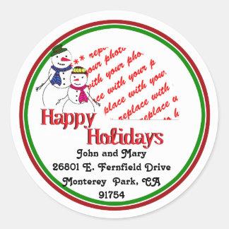 Cartoon Snowman Couple Photo Frame Stickers