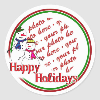 Cartoon Snowman Couple Photo Frame Round Sticker