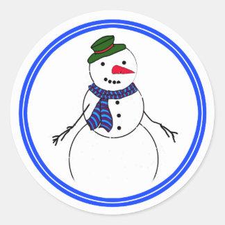 Cartoon Snowman Little Flirty Boy Classic Round Sticker