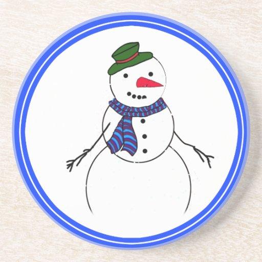 Cartoon Snowman Little Flirty Boy Drink Coasters