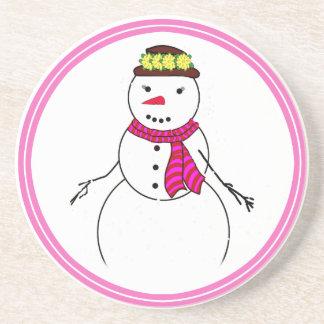 Cartoon Snowman Little Flirty Sweetheart Drink Coasters